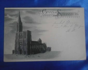 Vintage German 1899 Postcard, Greetings from Strassburg, Strassburg Cathedral, Used