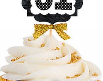 51st Birthday / Gold Ribbon with Polka Dot Numbers Cupcake Picks / Toppers -12ct.