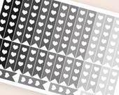 32 neutral flag stickers heart, black horizontal planner stickers, reminder checklist, eclp filofax happy planner kikkik mambi