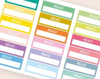 18 blank stickers, read bar sticker, box stickers, blank label, planner stickers, scrapbook reminder happy planner sticker