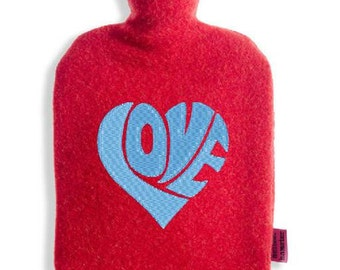 Hot water bottle cover in 100% Merino Wool with TÜV of certified hot water bottle