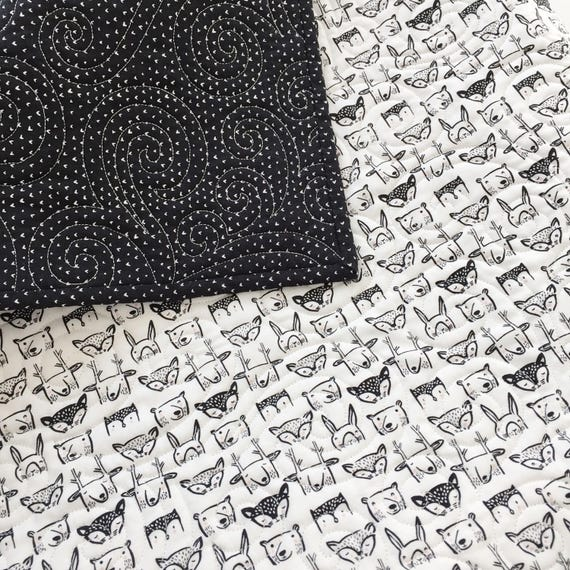 Wee Gallery Wholecloth Baby Quilt Woodland Heads and Hearts >> READY-to-SHIP black toddler quilt, woodland stroller quilt, modern crib quilt