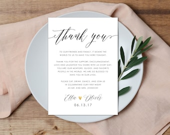 Thank You Place Setting, Wedding Thank You Card, Calligraphy Thank You, Thank You Note