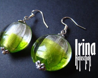 Lemon green lampwork beads earrings with silver hoocks. Round glass earrings. Beaded earrings. Lampwork earrings. Foil glass earrings.