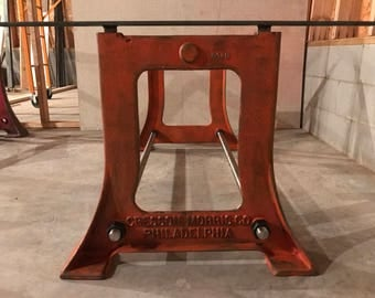 Philadelphia Vintage Industrial Cast Iron Table Base   Industrial Orange