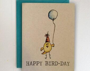 Happy Bird-Day / Happy Birthday Card / Birds / Watercolor