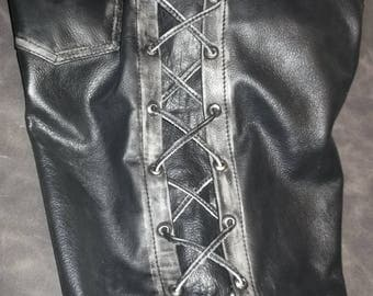 Biker pants,leather with abrasion effect.Genuine leathers-1,6mm.Handmade.