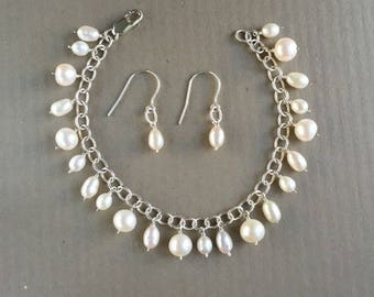 Timeless Sterling & Pearl Charm Bracelet with Matching Earrings