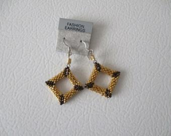 3D earrings, peyote stitch, shaped earrings,Diamond shape