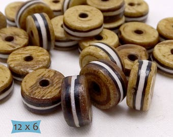 Striped Bone Rondelle Cake Spacer Beads--10 Pcs | 20-BN240-10