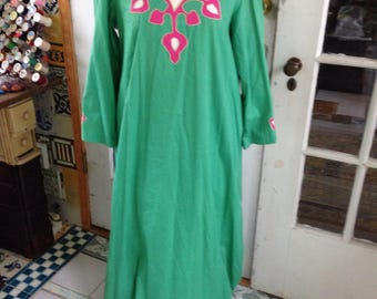 50's green, pink and ivory cotton caftan