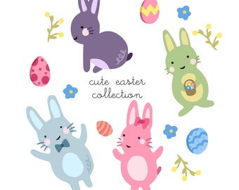 Cute rabbit clipart | Etsy
