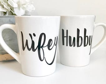 IMPERFECT Wifey and Hubby 14oz Coffee Mug Set, Coffee Cup, Couples Mug, Wifey Mug, Hubby Mug, Wedding Gift, Mothers Day, Birthday Gift, Enga