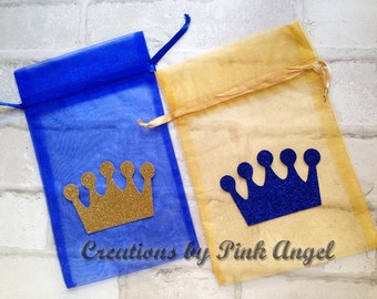 Set of 12 Royal Prince Favor Bags, Gold and Blue Royal Prince Organza Bags, Glitter Crown Treat Bags, Little Prince Birthday Party Favors