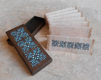 Book - Book in its box - accordion - blue notebook sketchbook - notebook gift - Portugal patterns - box Lisboa