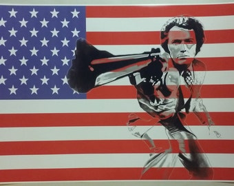 "Dirty Harry American Flag GIANT WIDE 42"" x 24"" Poster Print Clint Eastwood Man Cave Bar"