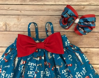 Cat in the Hat Boutique Hairbow, Dr Seuss Hairbow
