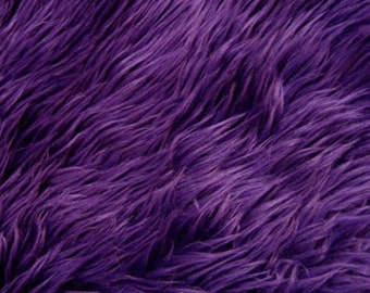 """Luxury Long Pile Faux Shaggy Fur Fabric - Sold By The Yard - 60"""", Color Purple"""