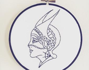 "6"" Dietzel Girl Embroidery Hoop Art"