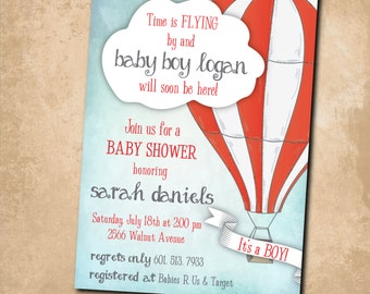 Hot Air Balloon Baby Shower Invitation printable/boy, watercolor, digital, red, white, first birthday/Digital File/wording can be changed