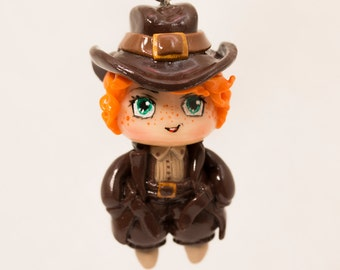 Steampunk Chibi Adventurer. Polymer clay charm.