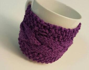 Mug Cozy Cable Knit • Coffee Cup • Coffee Cozy • Tea Cup Cozy • Holder • Sleeve! Vibrant Purple w/ Sugar Skull Button! Ready w Ship!
