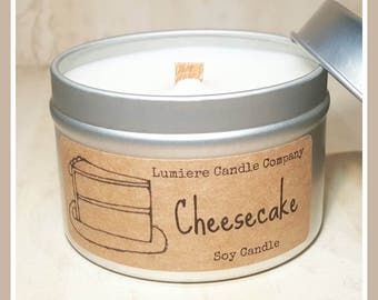 CHEESECAKE scent! | Wood Wick Soy Candle | Candle Tin | Hand Poured Eco Friendly Natural Candles | Scented Soy Candles | Vegan Candle