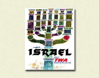 25% Off *_* Israel Print 1960 - Vintage Travel Poster Twa Poster Travel Wall Art Travel Decor Israel Poster
