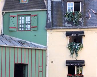 Fine Art Print, Paris Green and White Apartments with Window Boxes, Paris Print