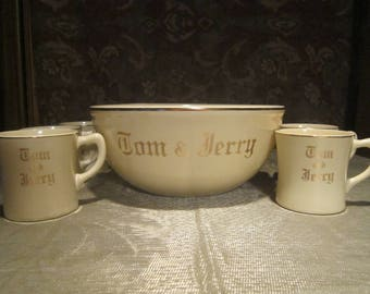 Tom & Jerry Punch Bowl Set Vintage 1940's Homer Laughlin J41NB Fiesta Ivory Gold Mugs Serving Entertaining - Bar0212