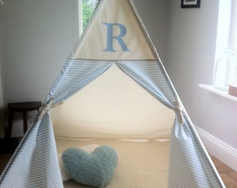 Teepee tent with blue monogram. All poles included!