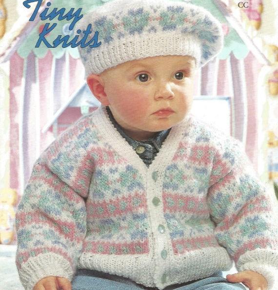 Stricken Baby Strickjacke und Baskenmütze Pdf Fairisle