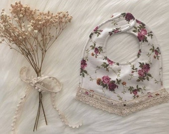 Boho Dribble Bib with Lace - Vintage Rose