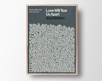 Joy Division, song Lyric Print, Love Will Tear Us Apart