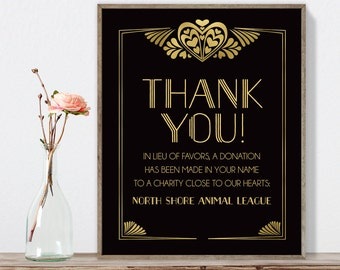 Great Gatsby Thank You Sign / In Lieu Charity Donation / Art Deco, Roaring Twenties / Black and Gold ▷ Printable File {or} Printed & Shipped