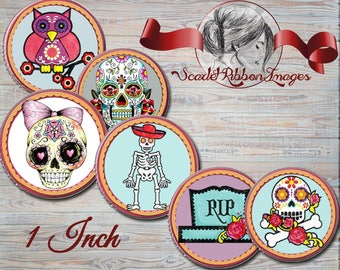 Sugar Skull Variety - 1 inch circles - set of 15 - digital collage sheet - bottle cap images, buttons, tags,  scrapbooking, cupcake toppers