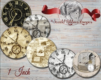 Clock Faces Vintage -  1 inch circles - digital collage sheet - bottle cap images, buttons, tags, scrapbooking, cupcake toppers