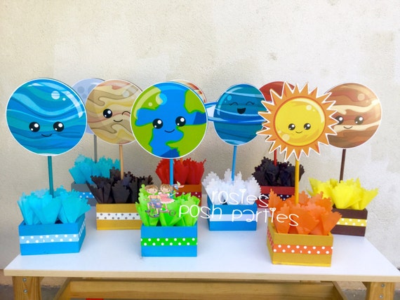Blast off outer space birthday party planets outer space solar for Decorations for outer space party