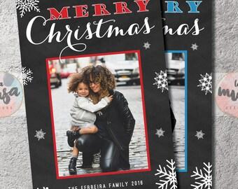 MERRY CHRISTMAS CARD {Christmas} {Holiday} {Chalkboard} {Snowflakes} {Printable}