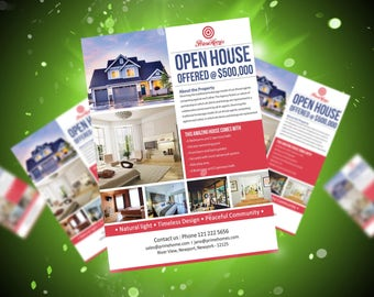 Real Estate advertising Flyer Open House Template - Editable in Microsoft Word, Publisher, Powerpoint, Photoshop INSTANT DOWNLOAD KOR-006A