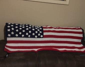 Handmade American Flag Blanket
