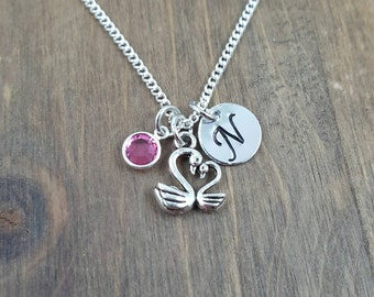 Personalized Swan Necklace - Hand stamped Monogram Swan Necklace - Initial, Birthstone Necklace- Mother Necklace- Child/Mother Necklace