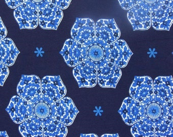 Blue Floral Jersey Knit Fabric, Extra Wide - Half Metre