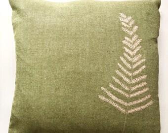 lovely large green fern print cushion