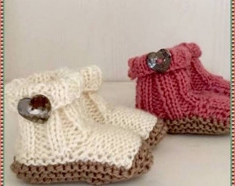Knitting Pattern Baby Booties, Boots