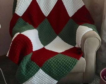 Knitting Pattern - Blanket Patchwork Christmas
