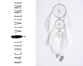3 Set Metallic Silver and White Boho-Chic Dreamcatcher