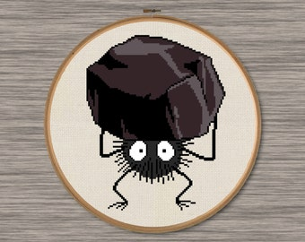 "Soot Sprite with Coal - PDF Cross Stitch Pattern - Inspired by Miyazaki's film, ""Spirited Away"""