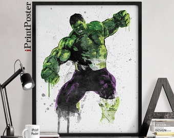 Hulk art print, Marvel poster, Superhero, Hulk watercolour, Avengers, Wall art, home decor, Comic art, Gift for him, Geekery, iPrintPoster