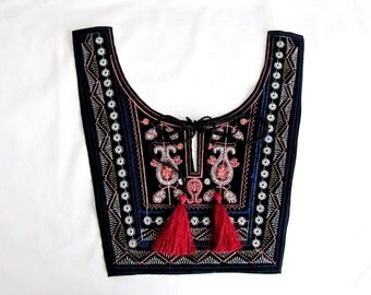 Ethnic ,Ethnis Dress,Ethnic  Collar Patch,Embroidery Collor Applique,Ethnic Embroiedered Collor,Tassel Collor Applique,Yoke